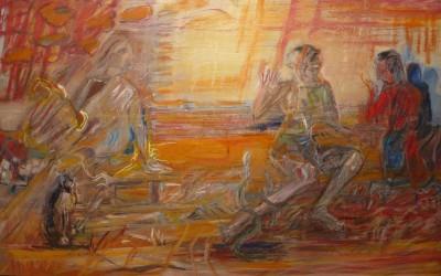 I M.Orphée et Euridice 2016 huile sur toile 130x81cm