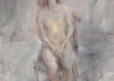 Melchior femme assise1981huile sur papier 60x70cm