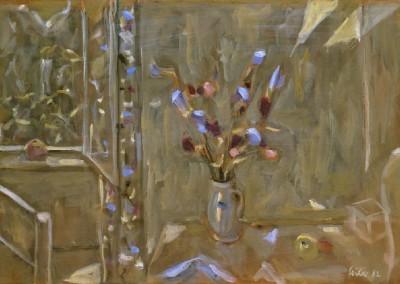 1982 Intérieur aux fleurs bleues g. 32x46,5 SDbd