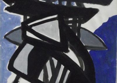 1964 Sculpture spatiale Gouache sur papier 50 x 38 cm