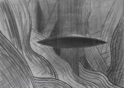 1987 Passage d'une soucoupe Crayon sur papier 45x37cm
