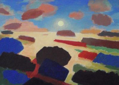 1987 Soleil couchant 2 Acrylique sur papier 41x31 cm
