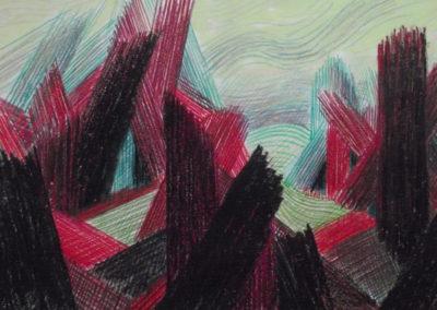GB-1987 Montagne chaotique Crayon et acrylique sur papier 35x27 cm