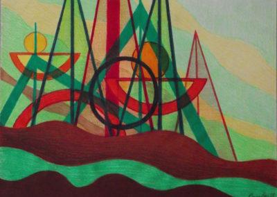 GB-1988 Ville future Acrylique sur papier 36x27cm