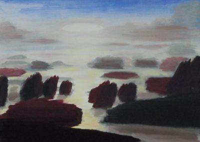 GB,ciel,mer,rochers-1990 Acrylique S:P (46x38)